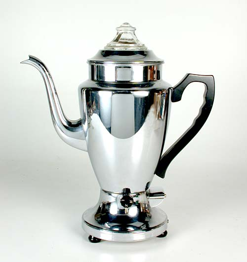 An Elegant Opal Coffee Percolator Manufactured In Toronto Circa 1950 This Heavily Chromed Electric Maker Has A Detachable Cord That Can Be Removed