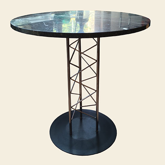 Round Marble Table with Chrome 'Eiffel Tower' Base